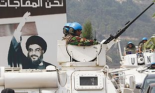 UNIFIL PEACEKEEPERS patrol in Adaisseh, Lebanon, from where Lebanese soldiers attacked IDF soldiers
