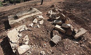 Two false tombs, one destroyed, are seen in the Mamilla Cemetery in Jerusalem