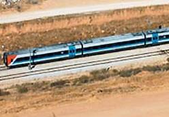 An aerial view of a an Israel Railways train.