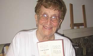 Eva Field with her Palestine ID