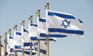 Israeli flags fly