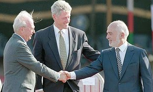 Rabin and King Hussein shaking hands