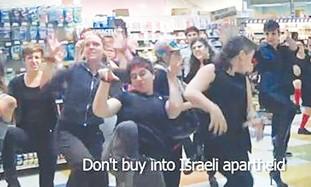 ACTIVISTS DANCE to support Strauss boycott.