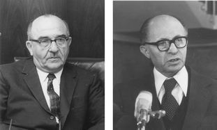 Levi Eshkol and Menachem Begin
