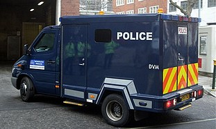 A police van at Westminster Magistrates' Court