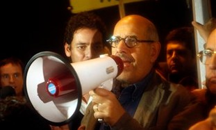 Mohamed ElBaradei speaking in Cairo's Tahrir Sq.