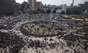 Traffic returns to Tahrir Square, Cairo, Sunday