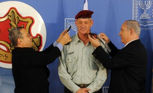 Benny Gantz gets new rank from Barak, PM