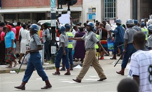 Riot police in Zimbabwe