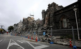 A building in Christchurch is destroyed