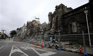 A destroyed building in Christchurch, New Zealand.