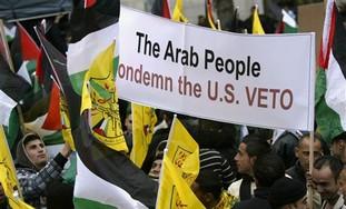 Palestinians protesting US veto in Ramallah