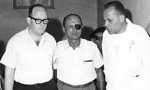 Nachum Pessin and Moshe Dayan at Shaare Tzedek
