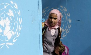 Palestinian girl at UNRWA school [illustrative]