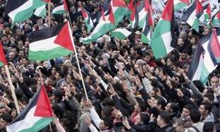 Palestinians in Ramallah rallying for unity