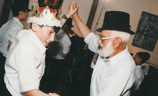 Shalom Maagan at grandson's bar mitzva in 1998