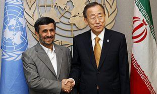 Mahmoud Ahmadinejad and Ban Ki-Moon (File photo)