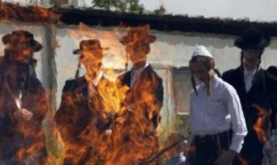 Haredim burn leaven in Mea Shearim
