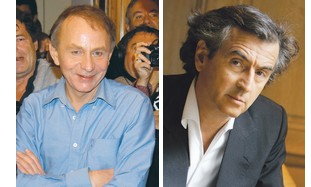 Bernard-Henri Lévy (right) and Michel Houellebecq