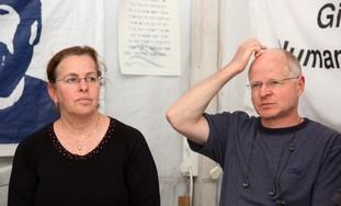 Noam and Aviva Schalit at the Schalit support tent