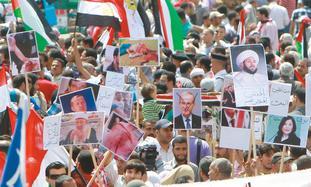 Nakba day protesters in Egypt's Tahrir Square