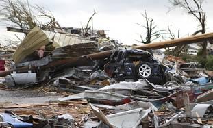 Damage caused by US tornado