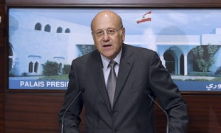 Mikati speaks after announcement of new cabinet.