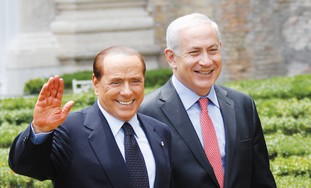 Netanyahu, his Italian counterpart, Berlusconi