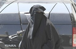A woman wearing the niqab, a veil worn by the most