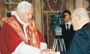 POPE BENEDICT greets Israeli Ambassador Lewy