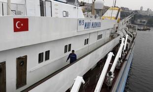 'Mavi Marmara' under maintenance in Istanbul.