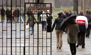 Visitors at Sachsenhausen concentration camp
