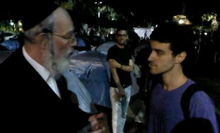 UTJ MK Yisrael Eichler visits TA housing protest