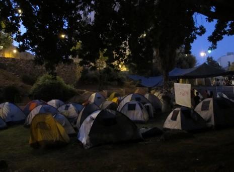 The tent city at dusk.  (Melanie Lidman)