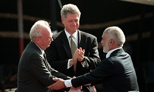Rabin, Hussein and Clinton at Arava peace deal