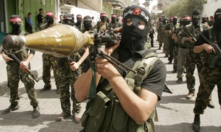 Gazan holds anti-tank missile (illustrative)