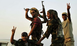 Libyan rebels celebrate.