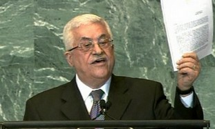 Abbas waving UN application