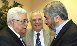 PA President Abbas and Hamas's Mashaal [file]