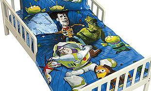 Children's bed with toy story cover
