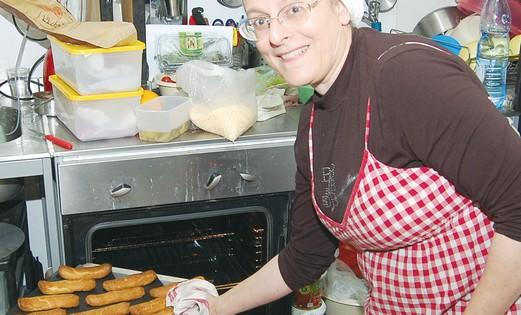 Mimi Sinai Sinelnikoff in kitchen