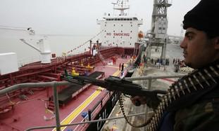 Policeman guards Iranian oil tanker