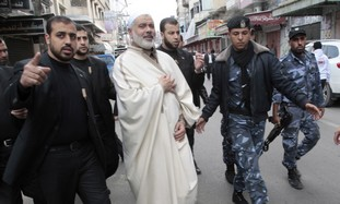 Hamas PM Haniyeh and bodyguards