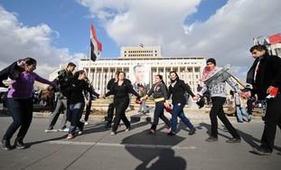 pro-Assad rally Bahrat Square, Syria