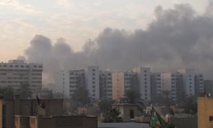 Smoke rises from a terrorist attack.