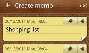 Smartphone memos app