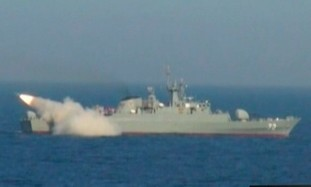 Iranian warship launches missile