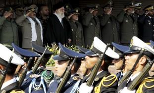 Army commander General Salehi stand with Khamenei
