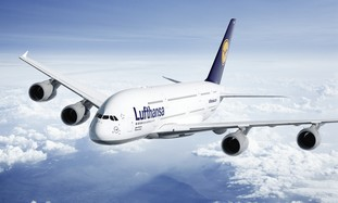 A Lufthansa airplane.
