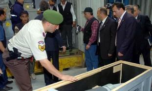 Turkish soldier examining cargo [illustrative]